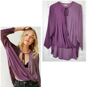 Silence + noise anthro wrap high low blouse